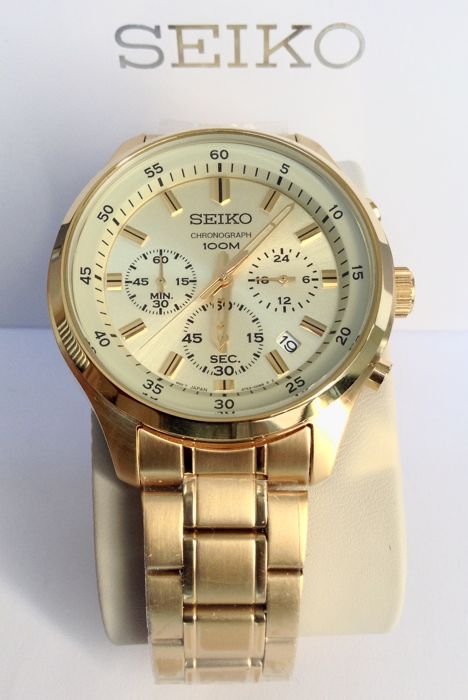 Seiko - 18 Kt Gold Plated Chronograph Date - Men - 2018 - New ... 501029613b