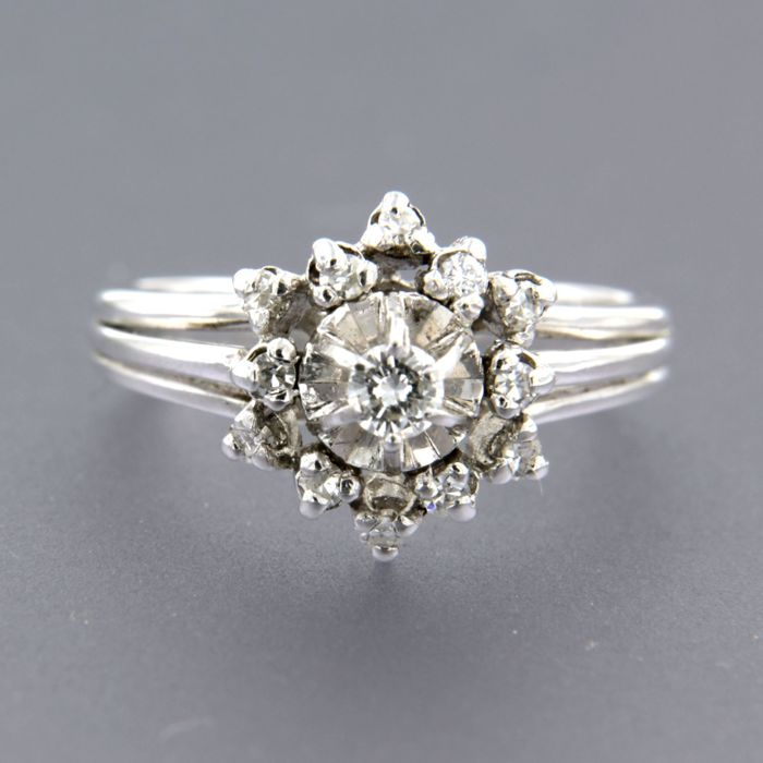 14 kt. White gold - Ring - 0.26 ct Diamond