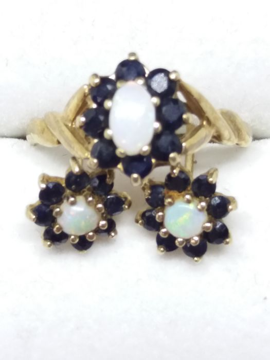 Opal and Sapphire ring and earrings set. 9k yellow gold 1970's.  no reserve