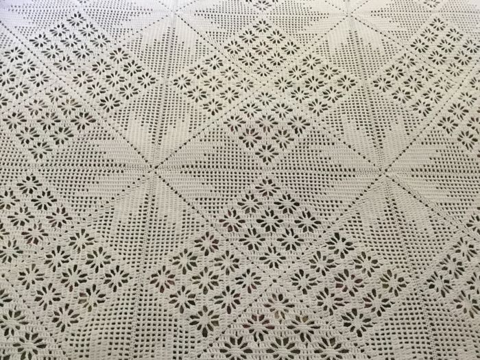 Beautiful large glossy cotton crochet bedspread - hand work of 1 - cotton
