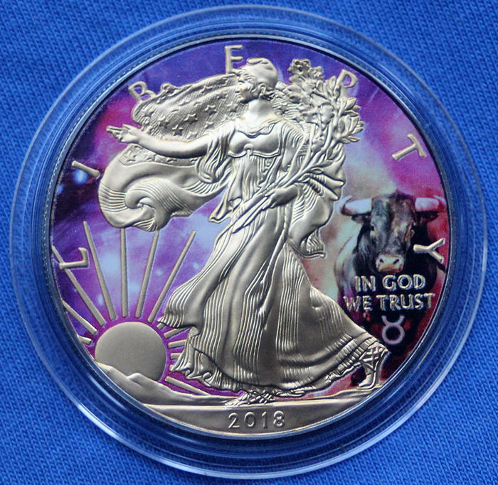 USA - 1 Dollar 2017 - American Silver Eagle Zodiac - TAURUS - Colored, Gold & Ruthenium Plated - 1 Oz - Silver