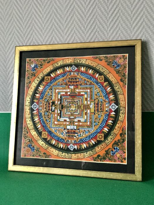 Thangka under glass representing Kalachakra - Nepal - late 20th century