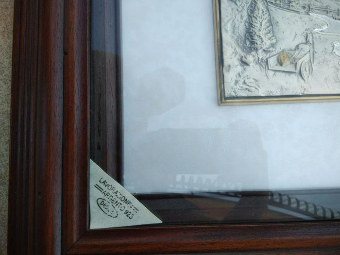 Framed Bas-relief on a 925 silver plate - Italy - 2014
