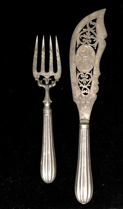 A , 19th Century , high quality , OLD SHEFFIELD , - Silver Plated, british 19th century , FISH SERVERS - set ,  Queen Victoria Era ( 1837-1901 ) Circa 1870 - U.K. - 1850-1874