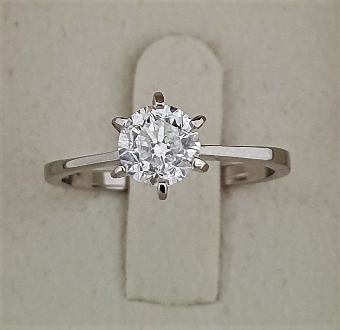 1.00 ct , D / SI1  - treated Diamond Ring  White Solid Gold 14K + Big AIG Certificate - 2.16 g
