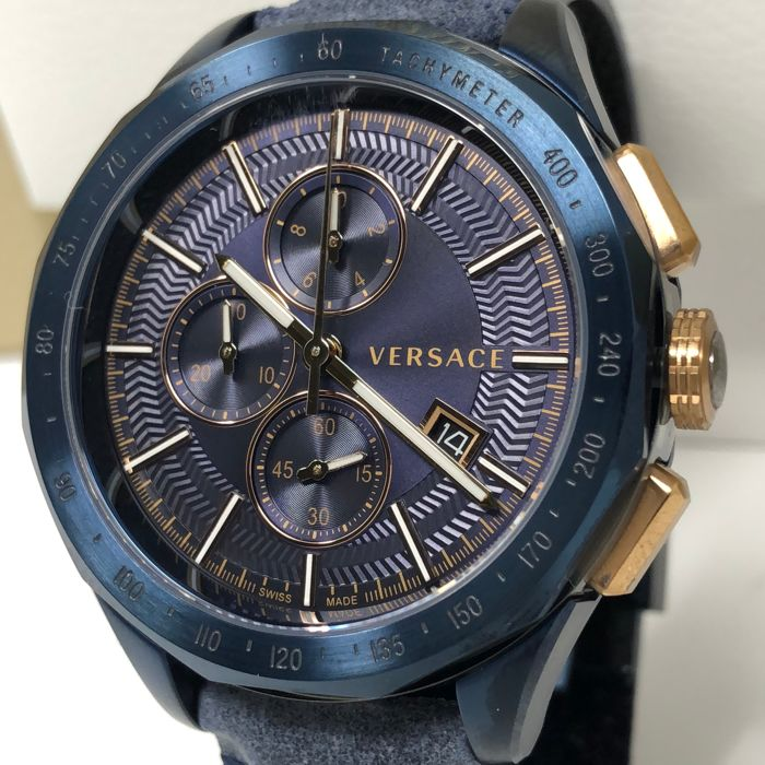 Preview of the first image of Versace - Glaze Chronograph Watch Blue Leather - VEBJ00318 - Men - 2011-present.