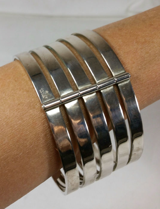 Gucci - Rare vintage bracelet 70s - stand-out piece in solid silver, 144 g