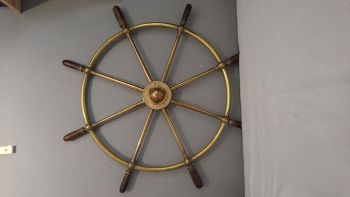 Antique brass ship's helm wheel early 20th century