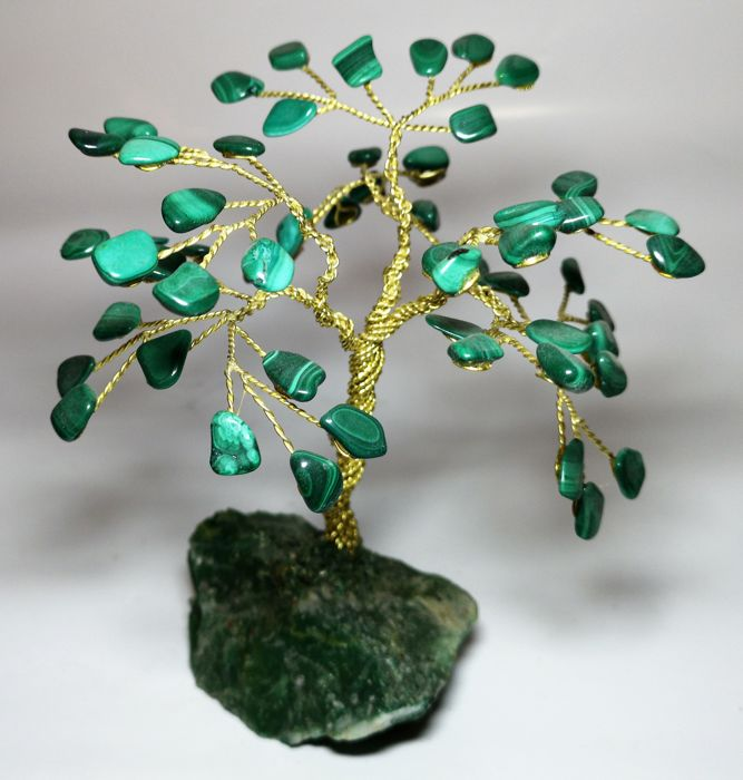 Malachite arbre - 160 x 130 mm - 260 gm