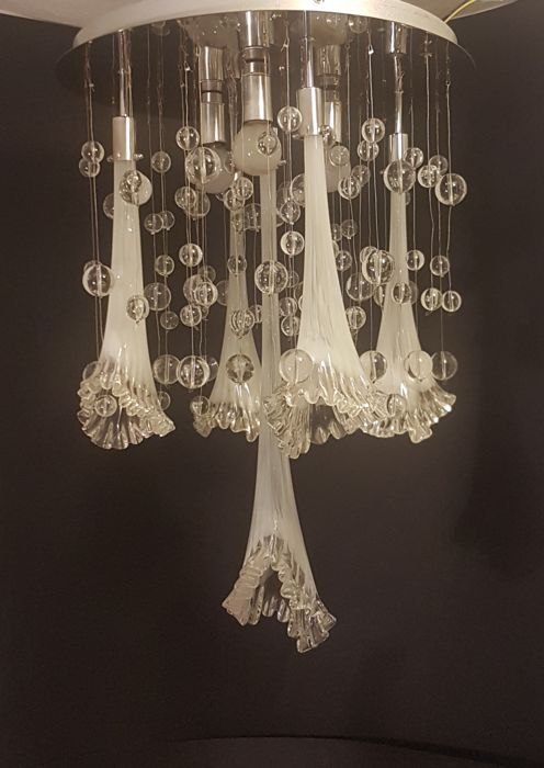 Chandelier With Blown Glass Calla Lilies