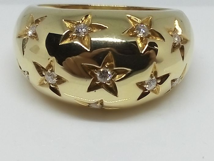 Wide-band ring in 750‰ gold with diamonds totalling 0.36 ct