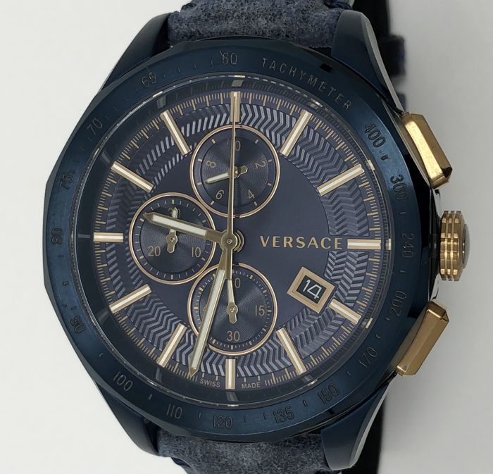 Versace - Glaze Chronograph Watch Blue Leather Swiss Made - VEBJ00318 - Hombre - NEW
