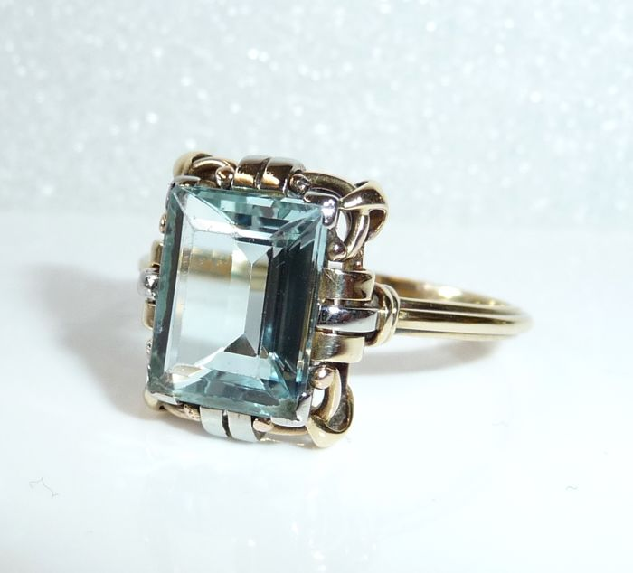 Ring made of 14 kt / 585 gold, 2.8 ct eye-clean aquamarine, ring size 60 / 19.1 mm - adjustable *no reserve*