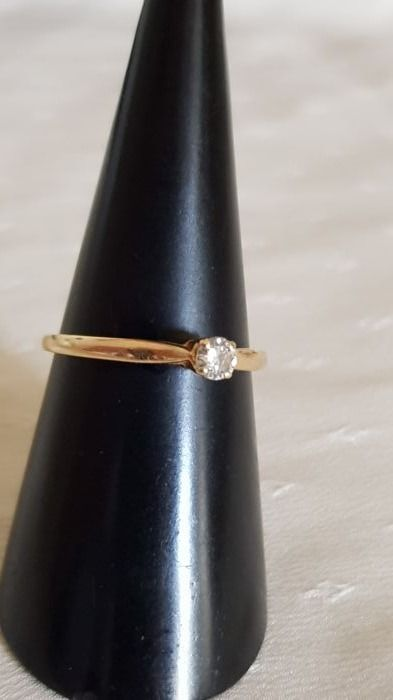 Solitaire ring in 18 kt gold diamond 0.17 ct - size: 57