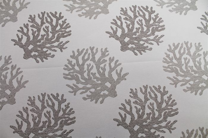 5.50 MT !!!!!!!! ITALY fabric gobelin patterned sea coral cream and dove gray - cotton blend, double face
