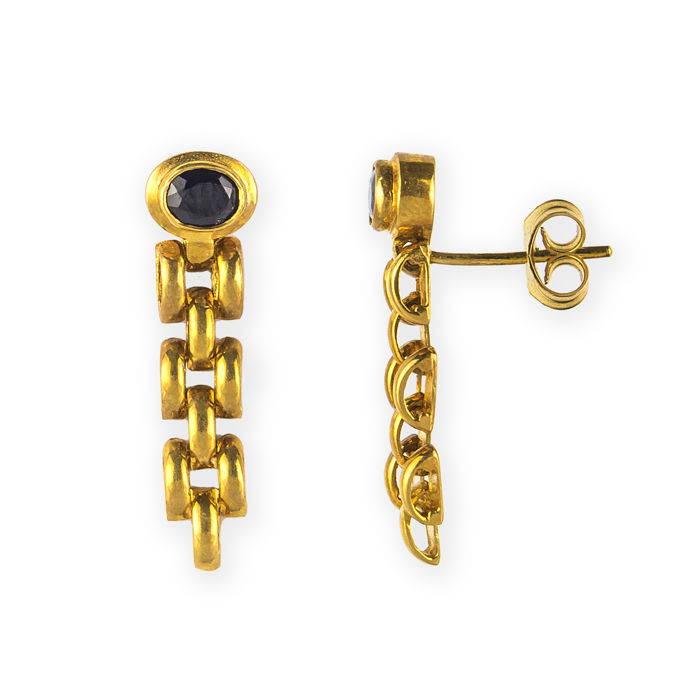 Yellow gold 18 kt - Earrings - Sapphires of 1 ct  - Earring height 26.50 mm