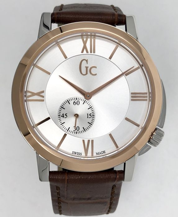 "Guess Collection - Gc SlimClass Rose Gold Swiss Made Brown Leather ""NO RESERVE PRICE"" - X59001G1S - Hombre - 2011 - actualidad"