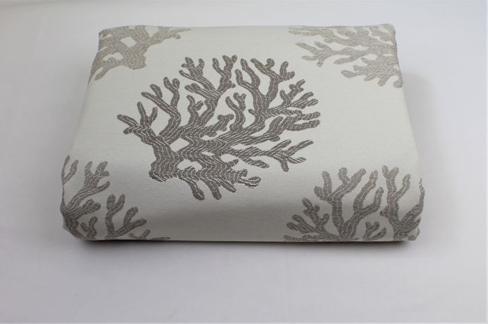 5.00 MT !!!!!!!! ITALY fabric gobelin patterned sea coral cream and dove gray - cotton blend, double face