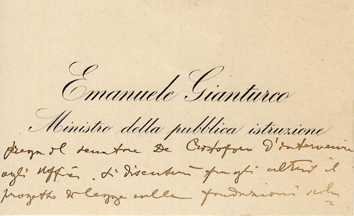 Emanuele Gianturco Politic Autograph Business Card With Request Of