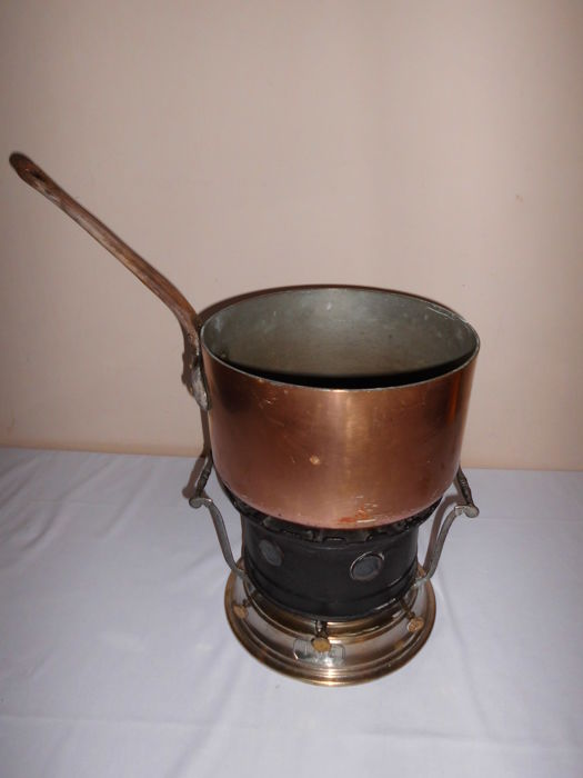 French rechaud with huge copper saucepan - 1 - Cast iron, copper