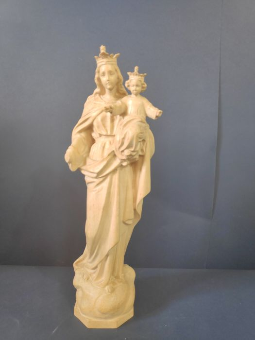 sculpture Madonna with Child to paint - Cherry wood
