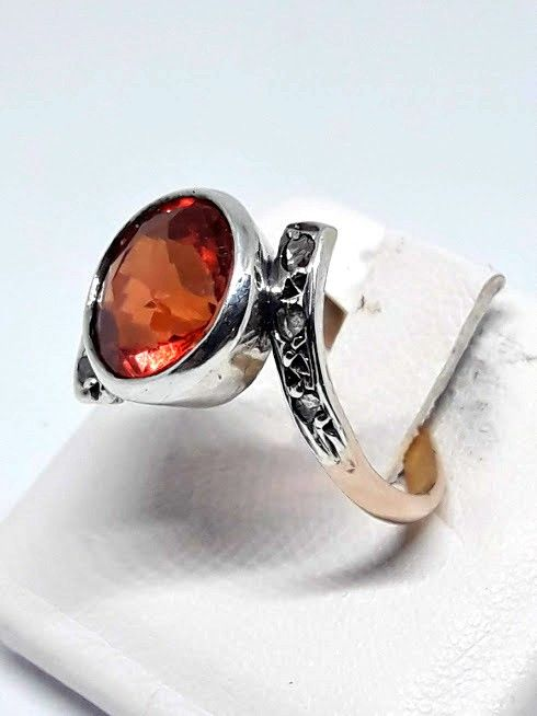 Ring from the 1950s - 14 kt gold - antique rose cut diamonds - size: 16.7 mm