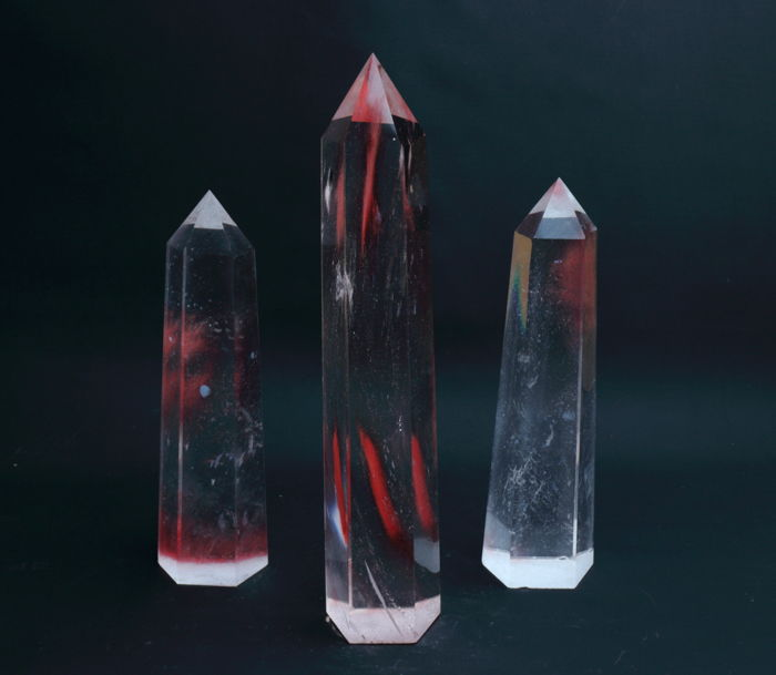 Quartz Point,Wand of strawberry quartz set - 20.3 until 27.3 cm - 2385 gram - (3)