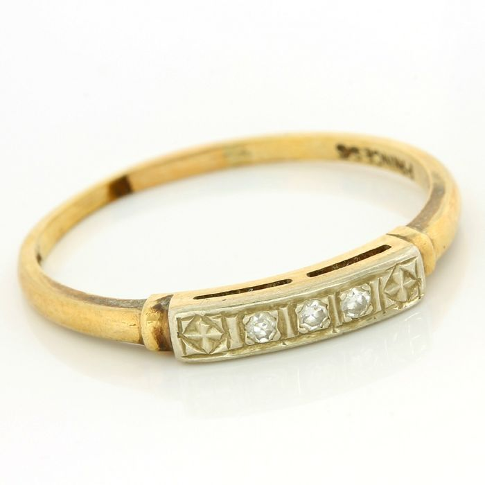 Antique 1930's 14kt Yellow Gold 0.03ct Round Brilliant Cut Diamond Ring; Size 7.5