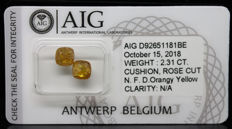 2.31 ct. Ideal Couple, Cushion Shape, Natural Fancy Deep Orangy Yellow Diamond - NO RESERVE