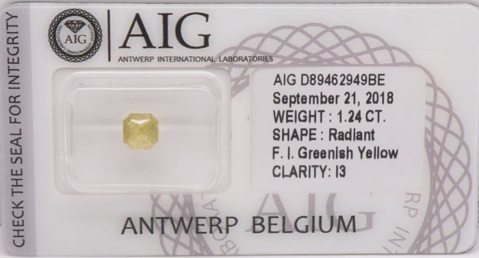 1.24 Cts Certified Natural Fancy Intense Greenish Yellow Diamond  -No Reserve