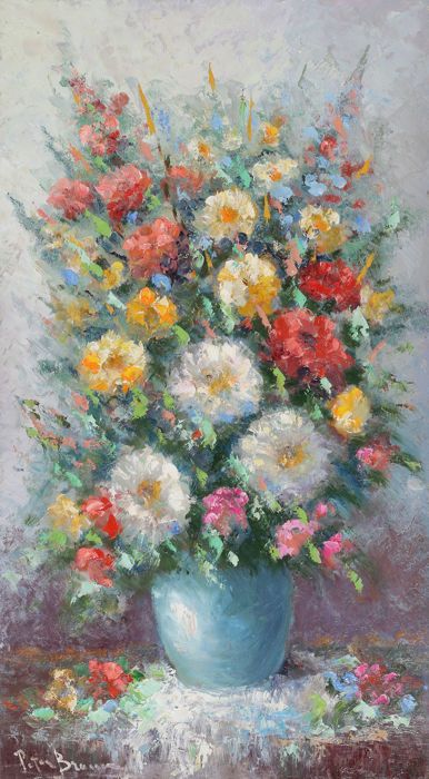 Peter BROUWER (1935-2010) -Large colourful still life with flowers