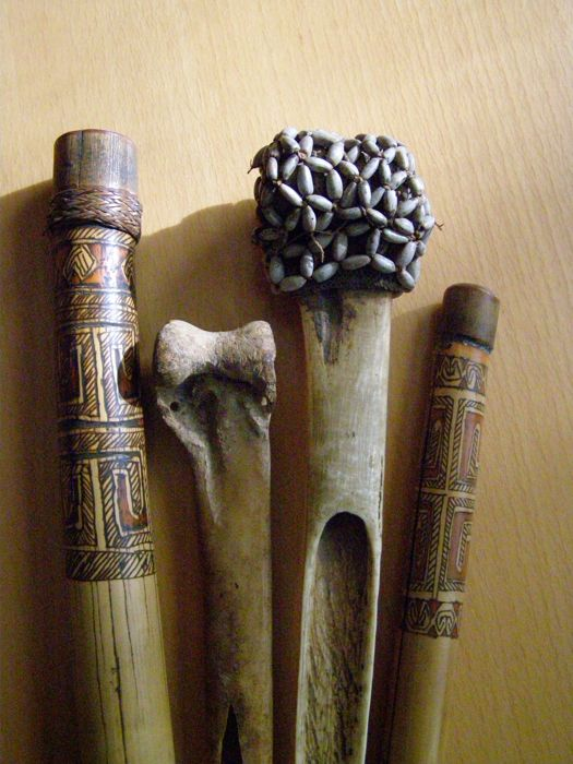 2 Daggers of Cassowary Bone and Bamboo Tubes/Pipes -  ASMAT - West Papua