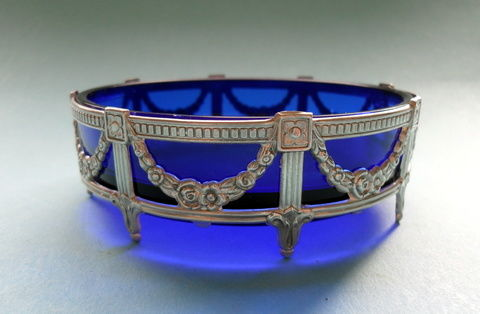 Table salt cellar with silver mounting - round - Silver - Silver 925 - Louis XVI