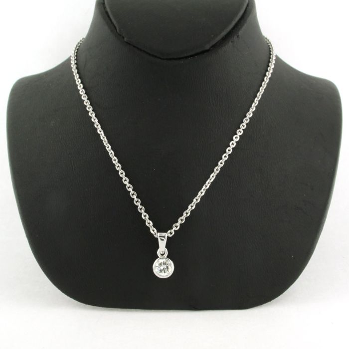 14 quilates Oro blanco - Collar con colgante - 0.46 ct Diamante