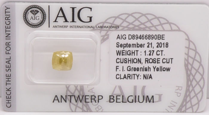1.27 Cts Certified Natural Fancy Intense Greenish Yellow Diamond  -No Reserve
