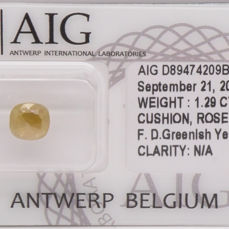 1.29 Cts Certified Natural Fancy Deep Greenish Yellow Diamond  -No Reserve