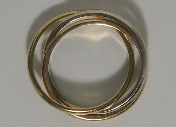 18kt tri-colour gold intertwined rings – size 53 (almost 17 mm diameter)