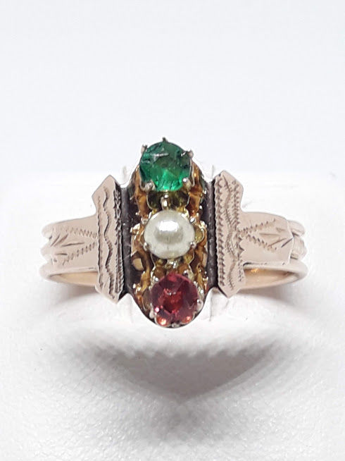Ring, 1950s - 14 kt gold - emerald, ruby and mabé pearl - Size 18 mm