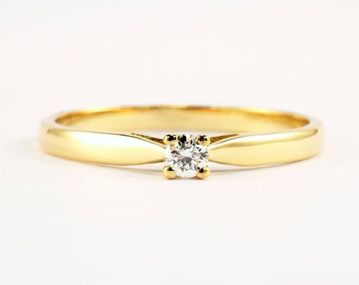 18 kt gold solitaire ring set with a diamond of 0.07 ct - Size: 54/17.2