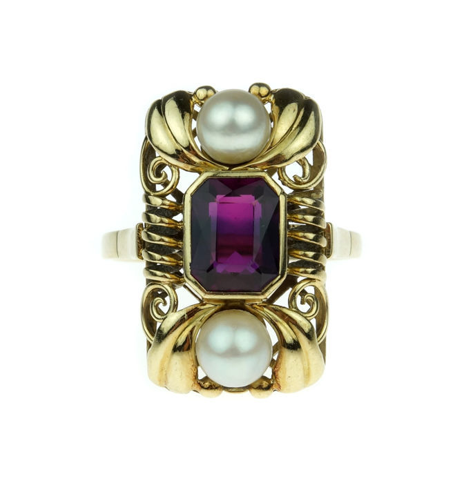 14 kt gold women's ring with amethyst and pearls - size 20