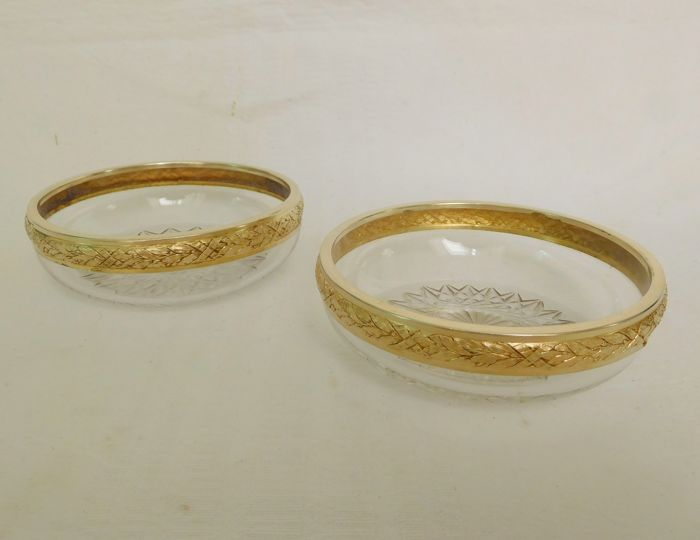 Baccarat and Maillard pair of coasters - crystal and vermeil - 950 - Louis XVI style