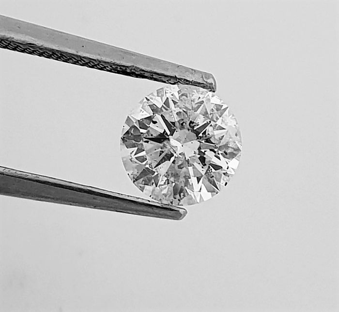 1.01 ct - G / SI1 - Natural Brilliant Diamond - 3 x EX - Big AIG Certificate + Laser Inscription On Girdle