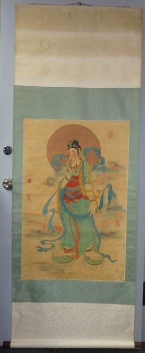 "Extra Large 201cmH painting of Goddess of Mercy"" (Guanyin) on silk - China - 20th century"