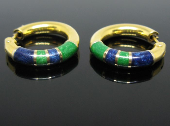 No reserve price -Weight: 5,9 gr- 18 kt solid yellow gold vintage loop earrings with fine enamel hand-painted