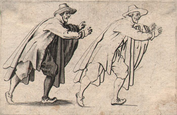 Jacques Callot ( 1592-1632 ) - Les Caprices - Officer with cape - First state.