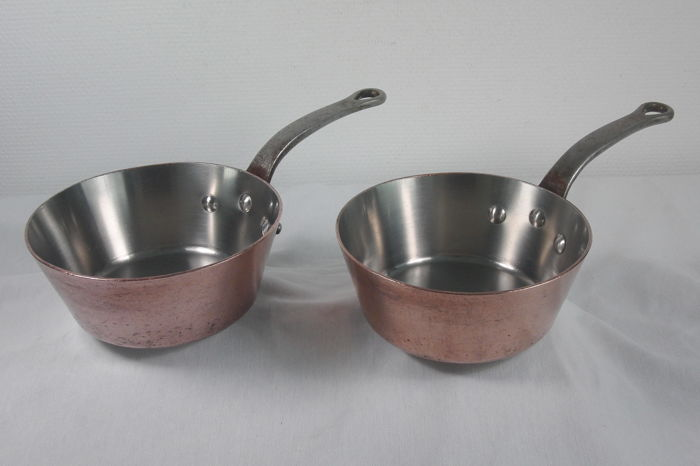 Made in France - 2 professional conical catering pans - 2 - Copper