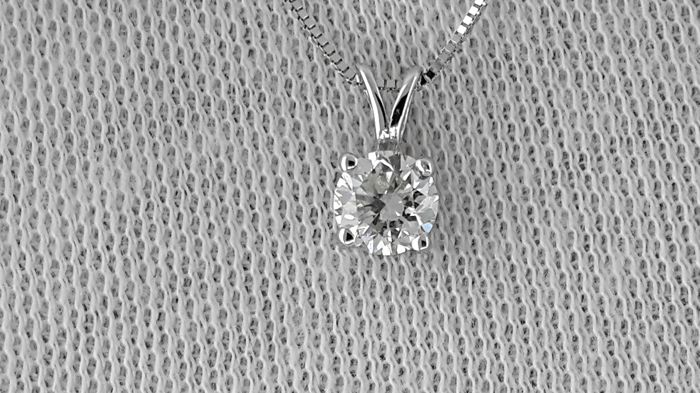 0.52 carat Round treated Diamond Solitaire Pendant White Gold 14K - No reserve price