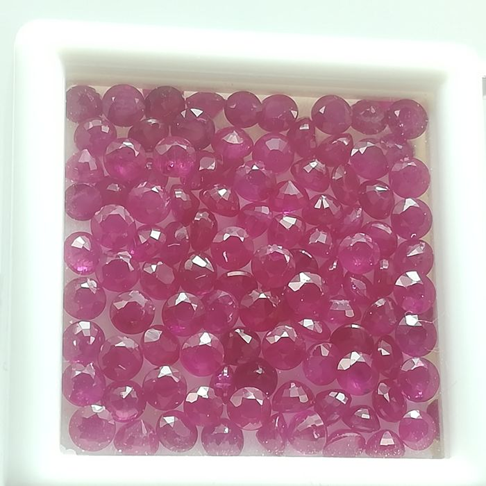 Lot of 100 rubies - 11.86 ct