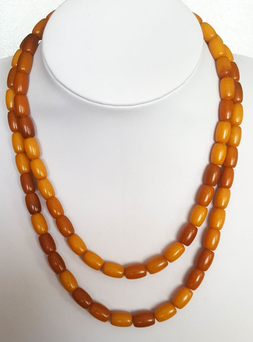 Vintage old Baltic Amber necklace egg yolk butterscotch  Bernstein - Halskette