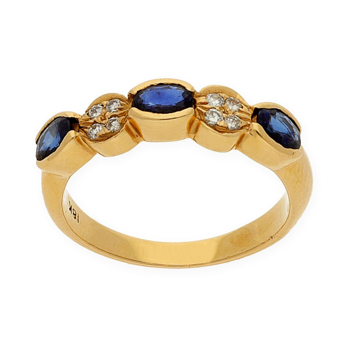 Yellow gold of 750/1000 (18 kt) - Cocktail ring - Brilliant cut diamonds of 0.25 ct - Oval cut sapphires of 1.00 ct - Size 14 (SP)